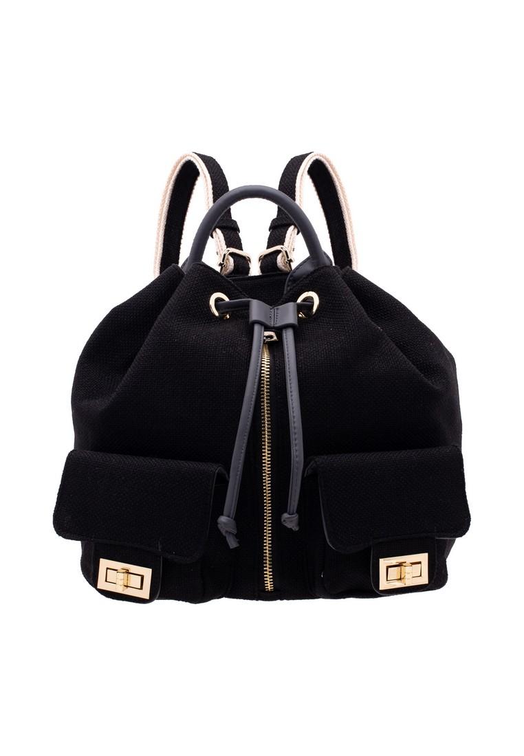 Linen Drawstring Backpack with Pocket